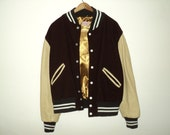 VINTAGE BASEBALL JACKET With Leather Sleeves