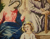 Antique Exquisite Needlepoint Textile of the Holy Family with Jesus, Mary and Joseph with Halos  Around Their Heads in Near Mint Condition