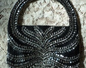 Vintage Formal Evening Bag, Exquisite Black Silk and Silve  Beaded and Silver Sequined  Formal Evening Handbag, Made In India