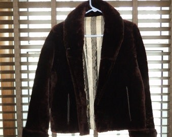 Retro Art Deco Style Dark Brown Mouton Fur Jacket, Waist Length  Car Coat, Size Small Jacket in near mint condition