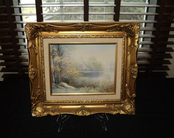 Vintage Original Oil Painting of a Cabin in the Woods with Golden Gilded Plastic Frame painted in 1967 and signed by The Artist