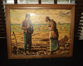 "Vintage  Paint by Number Painting of ""The Angelus""  Two Potato Farmers Praying in the field in near Mint Condition, A Spiritual Portrait"
