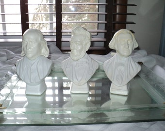3 Historical Americana Busts with  images of  Washington, Lincoln and  Franklin, AVON COLLECTABLE COLOGNE Bottles in Good Condition