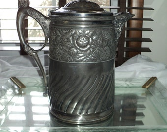 Antique Silver Plated Pitcher with Meridian Stamp, made in 1868 and lined with White Enamel Interior in Great Condition