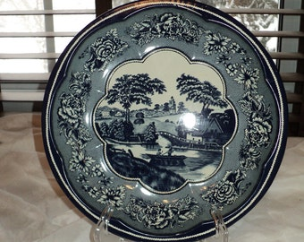 Vintage Blue and White Ware Tin Metal Bowl, Classic and Timeless Lithographic Printed Metal Tin in Elegant Pattern, Designed by Daher