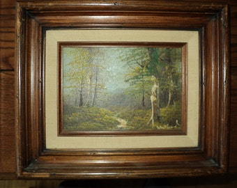 Original Oil Painting on Wooden Board of a Woodland Landscape Scene in wonderful color palette with Artist's Signature, Good Shape