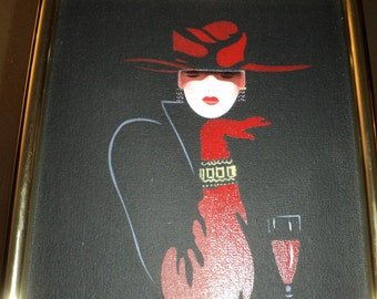 LADY IN RED, Vintage Original Seriographic Art Painting of a Lady with a Red Hat and Gloves and A Red Glass of Wine