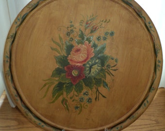 Vintage Tole Platter, Folk Art Hand Painted Wooden Wall Hanging in a wonderful color palette with a well developed patina in Very Good Shape