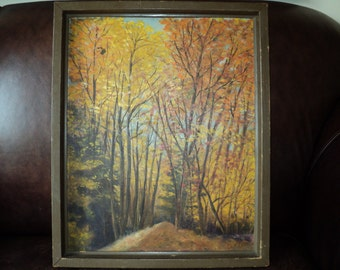 Original Oil Painting of A Fall Woodland Landscape Setting, Original  Outsider Rustic Primitive art work signed by The Artist LuKijak