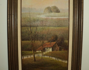 Vintage Original Oil Painting,  Signed by The Artist N. Austin of a Bucolic Landscape Scene with Diminishing Perspective