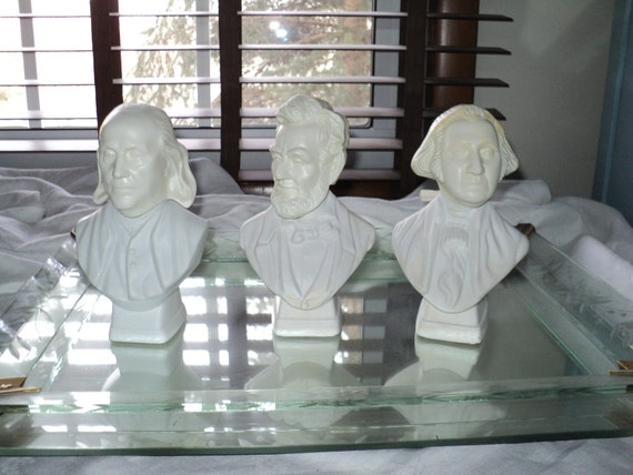 3 Vintage  Avon Cologne Bottles Made of White Milk Glass, Historical Americana Busts with  images of  Washington, Lincoln and  Franklin