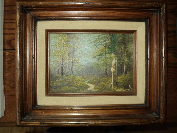 Original Oil Painting On Wooden Board Of A Woodland Landscape