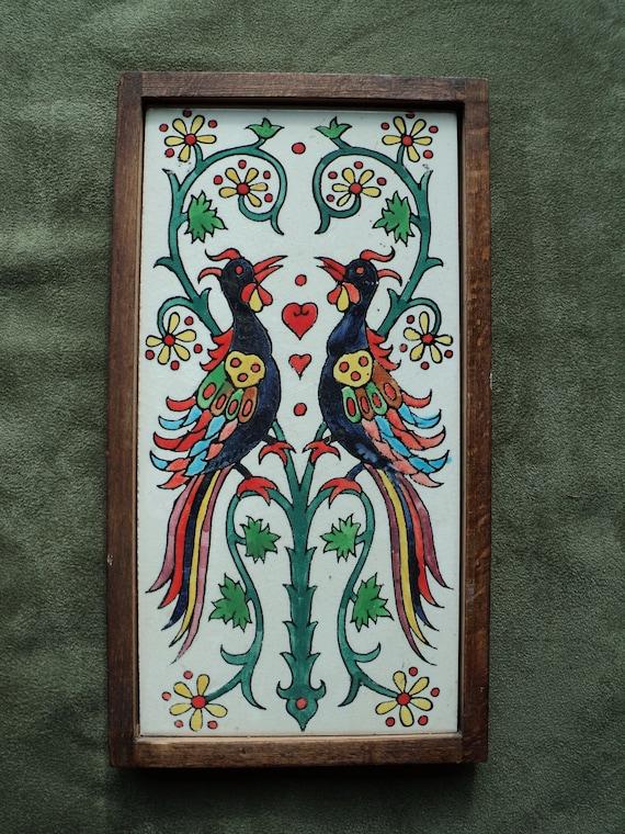 Vintage HANDPAINTED LOVE BIRDS on Ceramic Tile, Made In Jerusalem