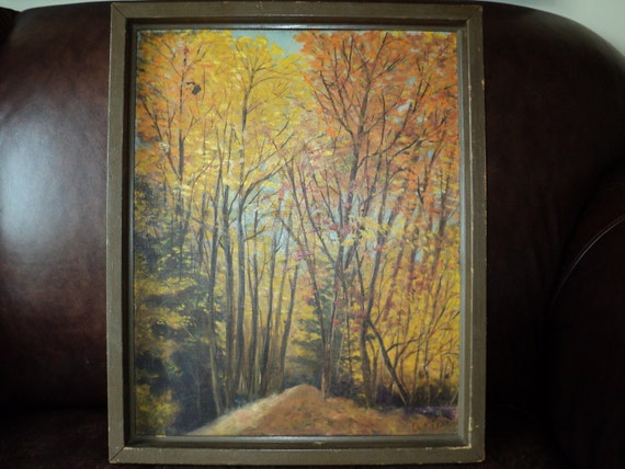 Retro Original Oil Painting of A Fall Woodland Landscape Setting, Original  Outsider Rustic Primitive art work signed by The Artist LuKijak