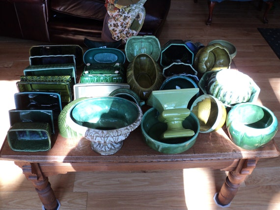 30 GREEN GLAZED CERAMIC Planters. Large Lot of Vintage Containers for use in a Flower Shop to make beautiful floral arrangements