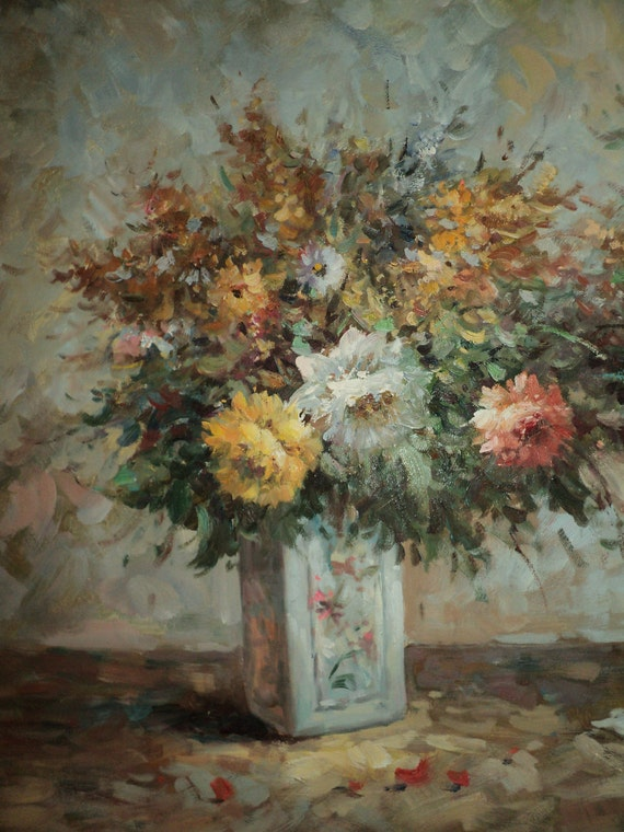 RESERVED FOR PAMELA , A Large Oil Painting of Two Beautiful Bouquets, Oil on Canvas Artwork  by The Artist T. Denver