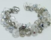 Crystal Cluster Bracelet.  bridal jewelry, wedding bracelet, bridesmaid gift, chunky bracelet, beaded sparkly bracelet