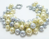 Gray and Soft Yellow Pearl Bracelet, Gray Chunky Bracelet, Gray and Yellow Wedding Combo, Bridesmaid Chunky Bracelet, Yellow Pearl Bracelet