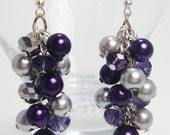 Purple and Gray Cluster Earrings, Chunky Earrings, Purple and Gray Wedding Combo, Purple Pearl Jewelry, Purple Earrings, Gray Pearl Earrings