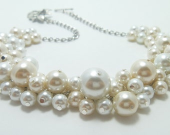 Pearl Necklace, Ivory and White Pearl Necklace, Pearl Cluster Necklace, Pearl Necklace, Cream & White Chunky Pearl Necklace, Bauble Necklace