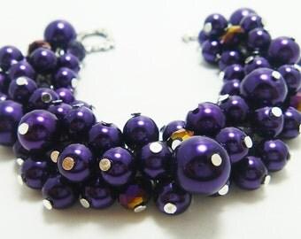 Pearl Bracelet, Purple Pearl Cluster Bracelet, Pearl Bridal Jewelry, Chunky Bracelet, Purple Bridesmaids Jewelry, Purple Cluster Bracelet.