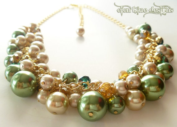 Champagne and Green Pearls Cluster Necklace and Crystals for Autumn, Fall Jewelry, Harvest Jewelry, Chunky Necklace.