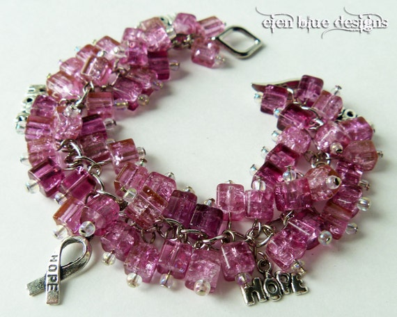 Breast Cancer Charm Bracelet - Pink crackled glass beads with metal charms chunky cluster beaded bracelet - Bubble Gum - UNDER 15