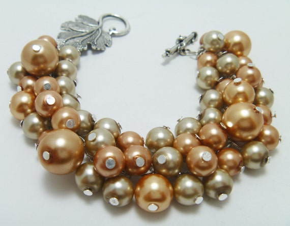 CLEARANCE Pearl Cluster Bracelet - Golden and champagne/taupe cluster of pearls chunky beaded bracelet - Summer Tan-