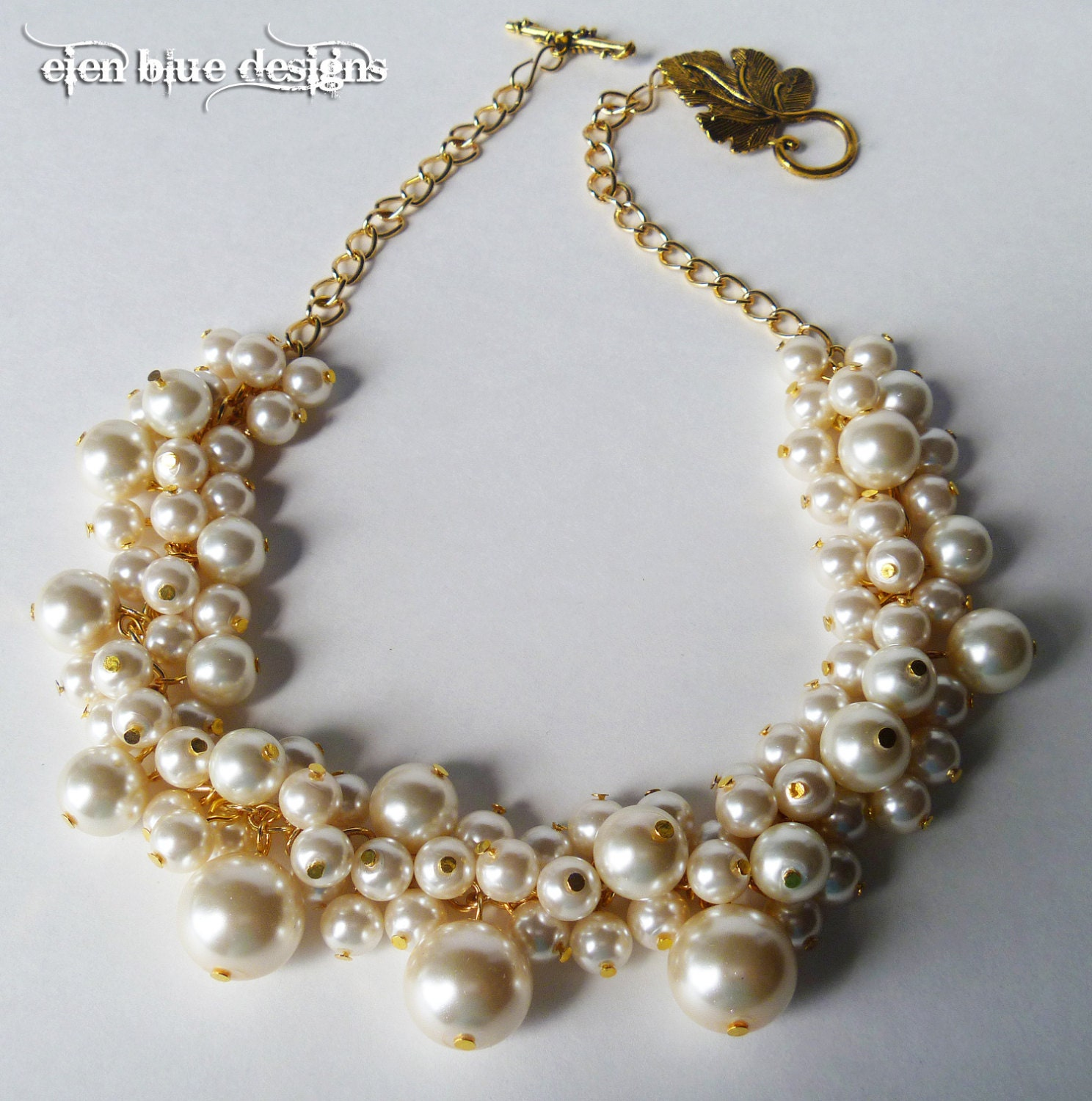 pearl cluster necklace ivory chunky necklace bauble