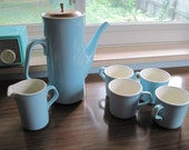 HOLIDAY SALE...Mid century Pitcher with 4 cups and a creamer