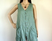 Sleeveless button front shirt dress (D8) : cotton teal green