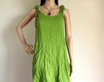 Sleeveless sundress eco sumer dress (D2) : cotton apple green