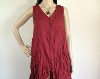 Sleeveless button front shirt dress (D9) : cotton carmine red