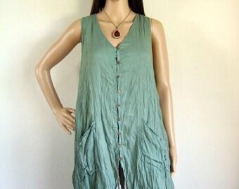 Sleeveless button front shirt dress (D8) : cotton teal green