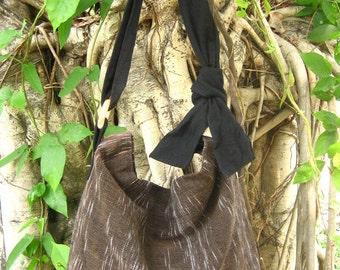 Hand woven cotton Fabrics Hip/ Shoulder bag 11 brown galaxy