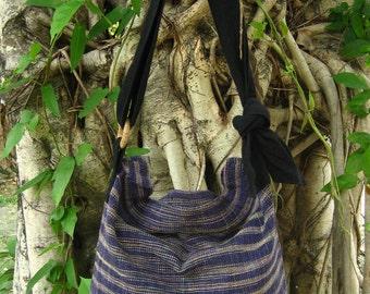 Hand woven cotton Fabrics Hip/ Shoulder bag 12 Mardi Gras purple violet stripe