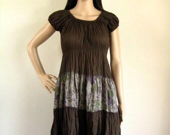 Short Sleeve sundress eco sumer dress (D14) : cotton spring flower brown