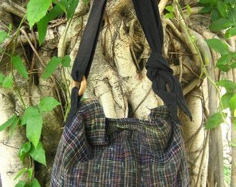 Hand woven cotton Fabrics Hip/ Shoulder bag 16 balck rainbow stripe