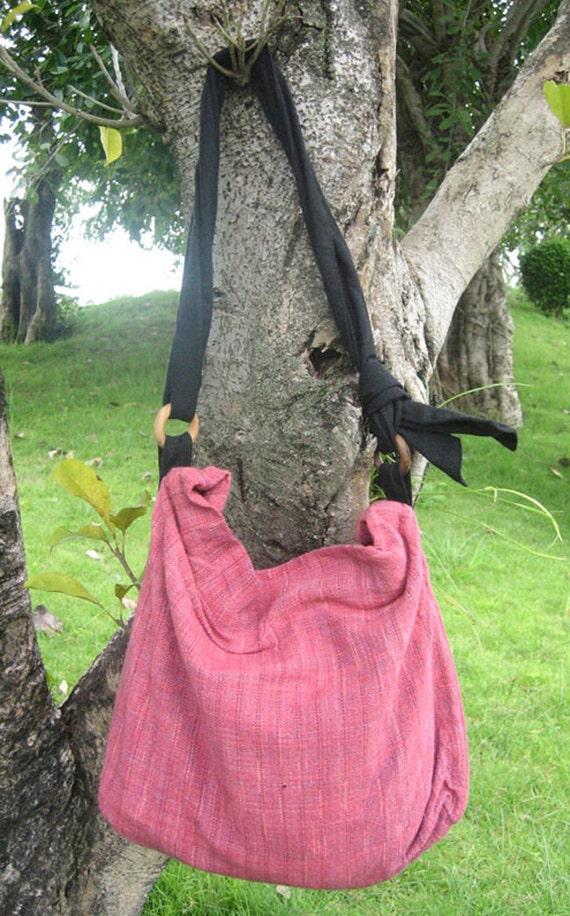 Hand woven cotton Fabrics Hip/ Shoulder bag 8 pink