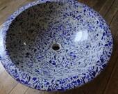 Recycled cobalt blue glass vessel sink