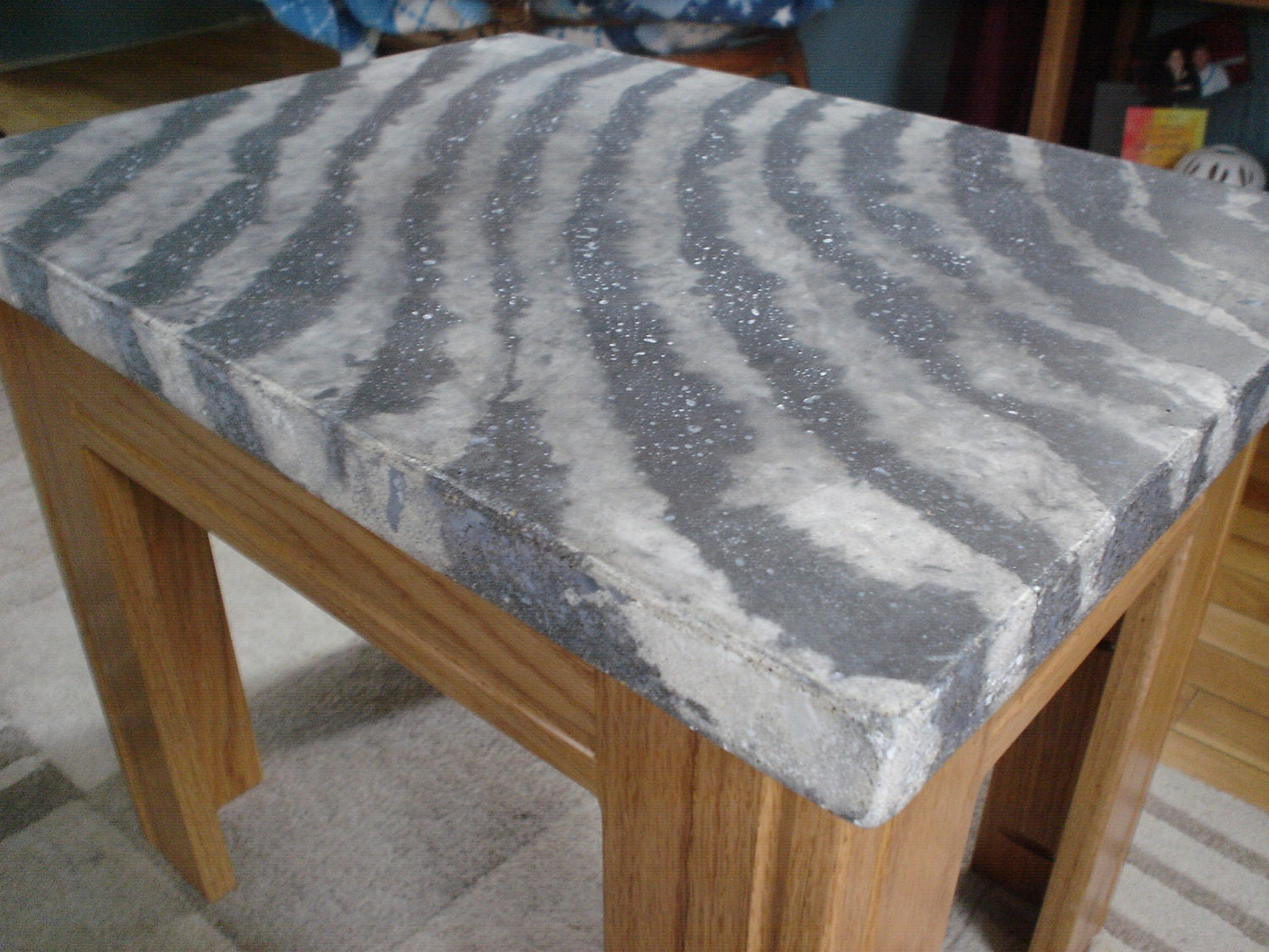 Concrete zebra print table top only top for Tabletop table