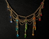 Banned from the Ball - Victorian Style Bronze Chain and Rainbow Swarovski Beaded Choker by Enrah. Free Shipping to the U.S.