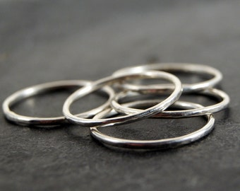 Hammered Sterling Silver Rings - Set of 5