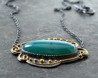 Aqua Green Agate Necklace in Oxidized Sterling Silver and 18kt yellow gold...ooak
