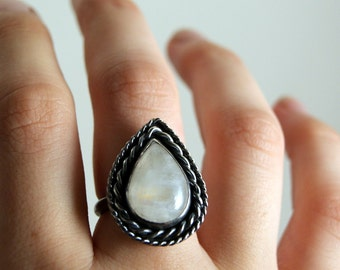 Grecian Teardrop Ring - Moonstone and Sterling Silver Ring, SIZE 7, 3/4