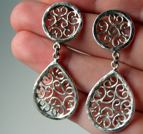 15% OFF Spring Specials - Filigree Teardrop Earrings in Sterling Silver