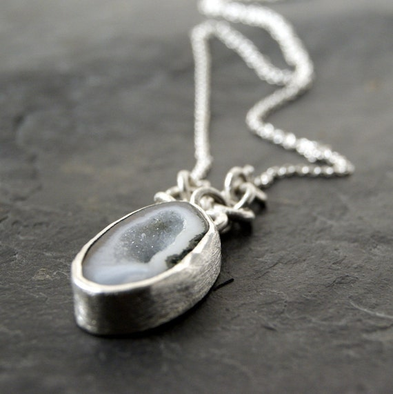 One of a Kind - Pale Blue Geode Necklace in Sterling Silver