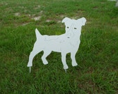 CLEARANCE Jack Russell Hanging Wall Art or Standing Yard Sculpture in White