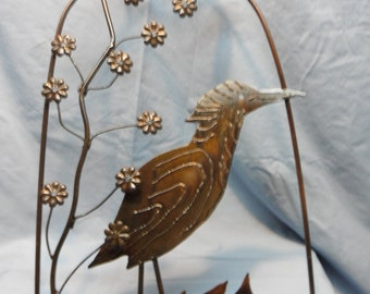 Caged Bird with Flowers Wall Hanging
