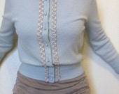 1950s Embellished Baby Blue Cardigan / Powder Blue / Soft / Cropped Sweater